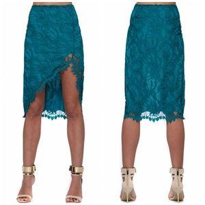 For Love and Lemons Maui Waui Teal Lace Skirt